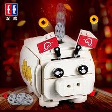 цена на New Year Pig Piggy Bank Money Box 3D Model DIY Diamond Pig Technic Building Blocks Toy DIY Bricks Toys Piggy Eat Coin
