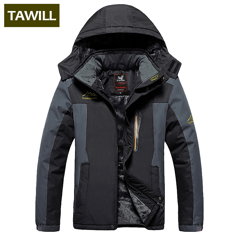 TAWILL Brand 2017 NEW thermal Warm Fleece Winter Jacket Men Coat outwear Waterproof Windproof Hood clothing 828