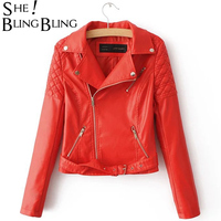 Sheblingbling negro rojo motocicleta chaqueta moda turn Abrigos de plumas collar Slim mujeres Tops otoño manga larga pu Outwear