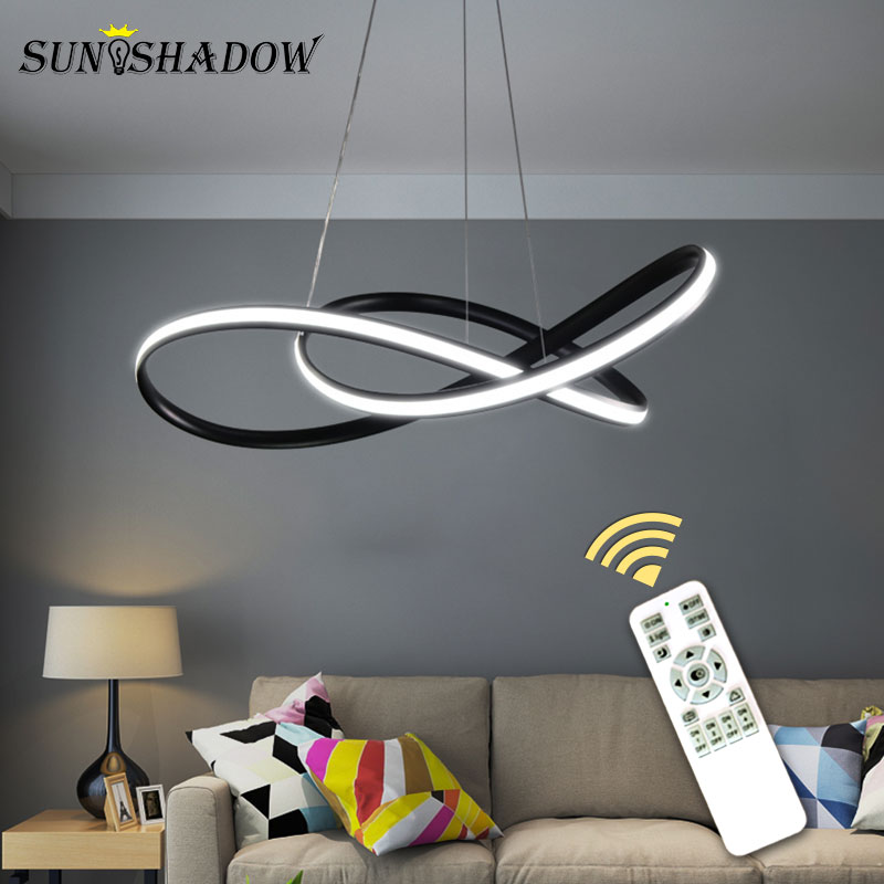 Image 2 - White/Black Modern LED Pendant Light For Living room Bedroom Dining room Hanging Lamp LED Pendant Lamp Home Lighting Led Lustre-in Pendant Lights from Lights & Lighting