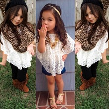 Hot Cute Baby Kids Girls Summer Lace T-shirts Batwing Sleeve Tops Blouse Casual Tee shirt 2016 LS4