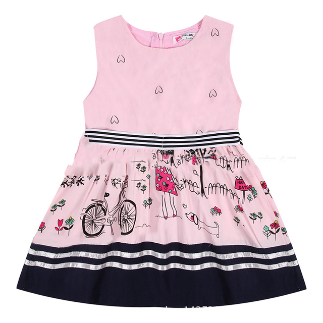 e4b151f9af3 2017 Summer Girls Dress A-Line Cartoon Comics Print Sleeveless Princess  Dresses For Baby Girls Party Dress Kids Clothes Vestido