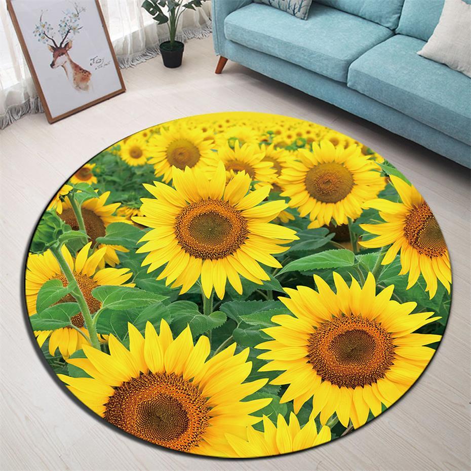 3D Sunflower Floor Mat Non Slip Round Area Rug Door Red Yellow Small Carpet 65cm