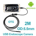 5pcs/lot Micro USB Android OTG Phone Endoscopio 2M 5.5mm lens inspection Pipe 720P HD micro USB Endoscope Inspection Camera