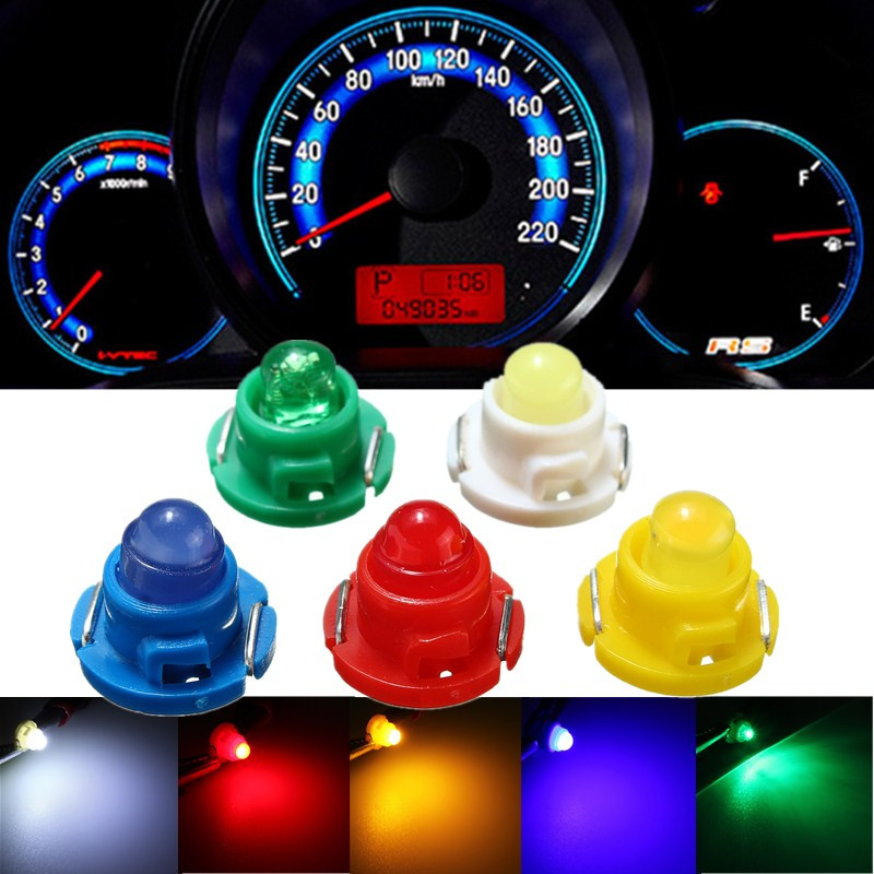 10pcs T4.7 LED Auto Car Cluster Gauges Dashboard White/Blue/Red/Yelllow/Green Instruments Panel Indicator Light Lamp Bulb 12V uxcell 10 pcs ice blue 3020 smd led vehicles car dashboard dash light lamp internal