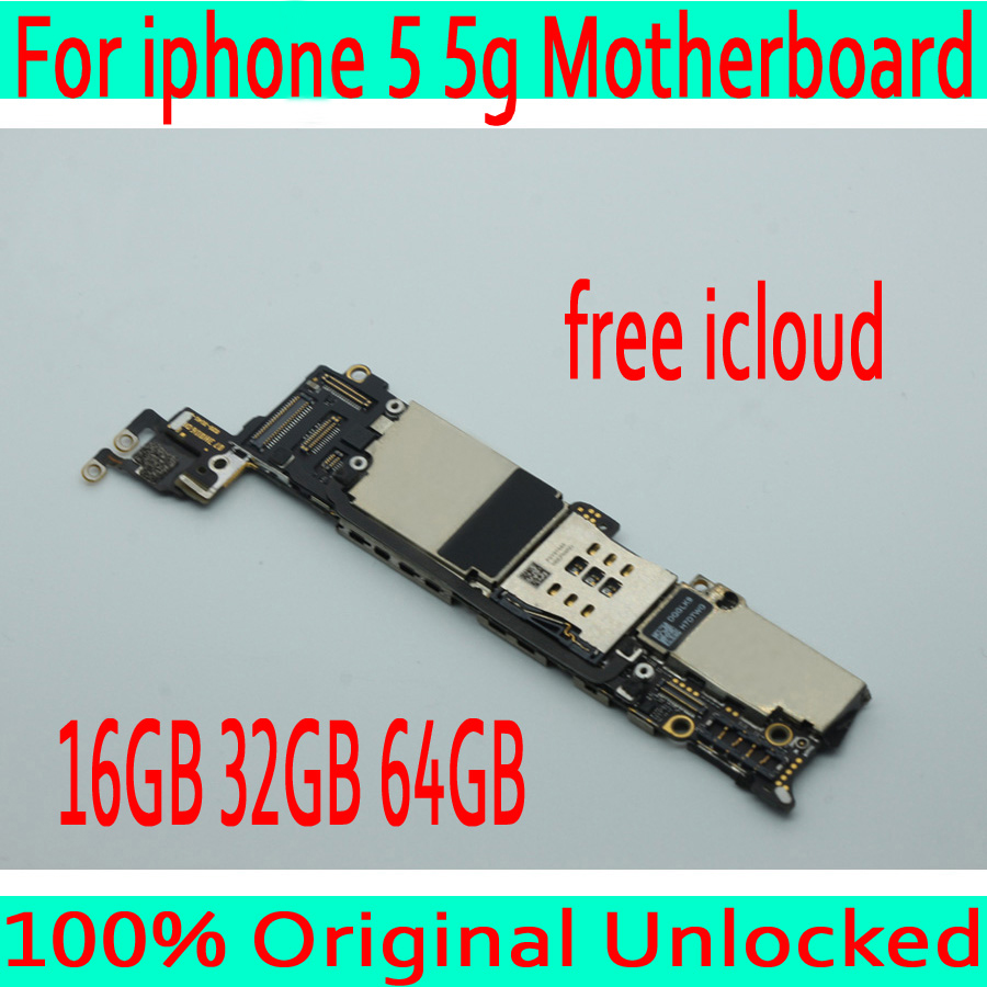 Free iCloud for iphone 5 Motherboard with Full Chips Original unlocked for iphone 5 5g Mainboard