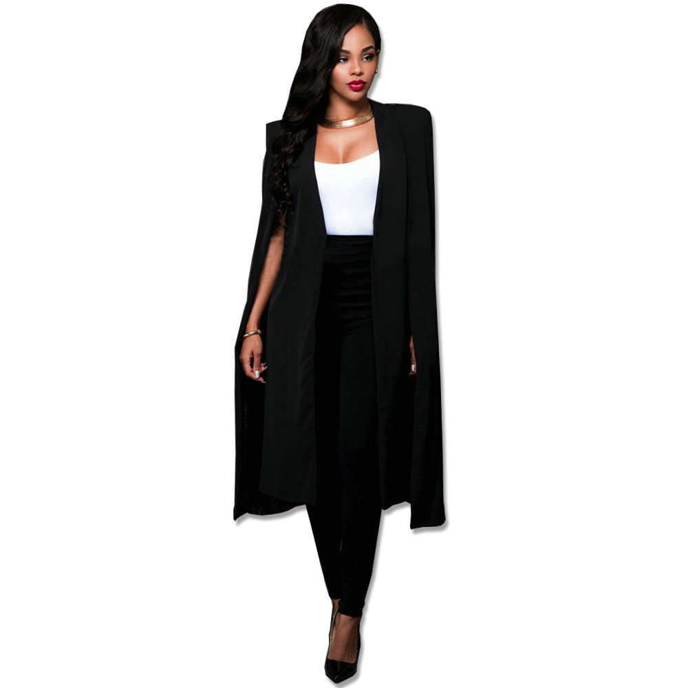 S-4XL Blue Black Red White Green Fashion Cape Coats Long Solid Cloak OL Blazer Jackets Cape Blazers Personality Woman Suit Jacke