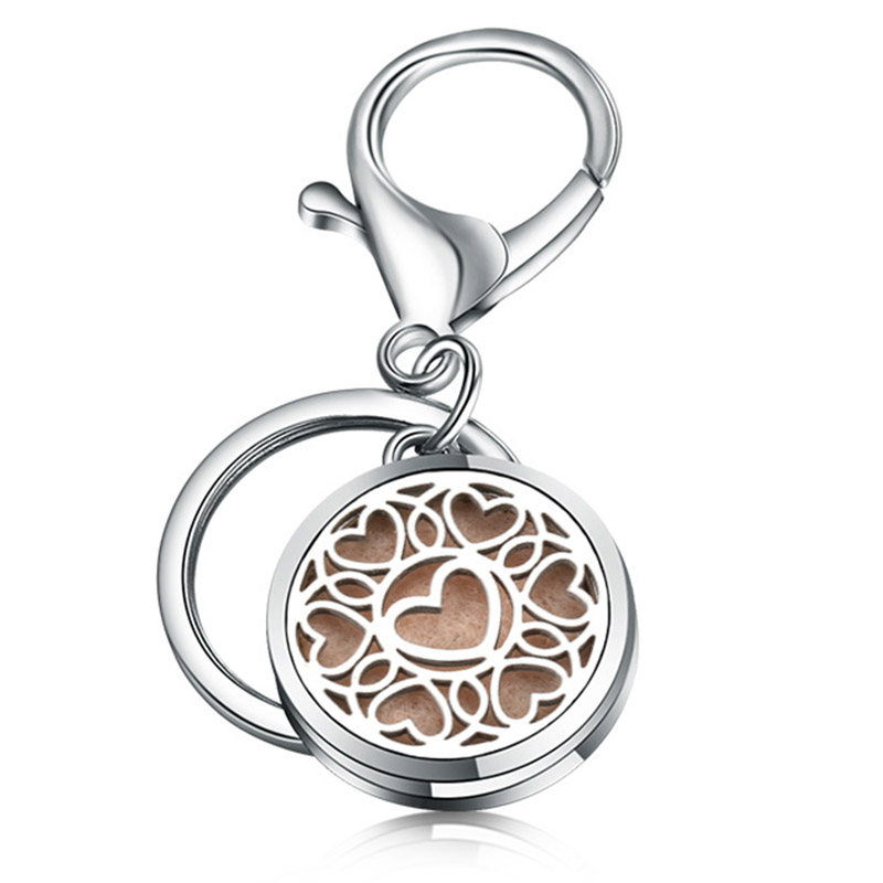 Fashion Round Little Love KeyChain Jewelry Stainless Steel Essential Oil Diffuser Perfume Aromatherapy Locket Key Chain Jewelry