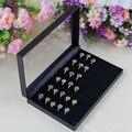 Rings Box for retailer PVC Simple Jewelry Box Rings Showcase Display Case Box Storage Holder Organiser Color Black