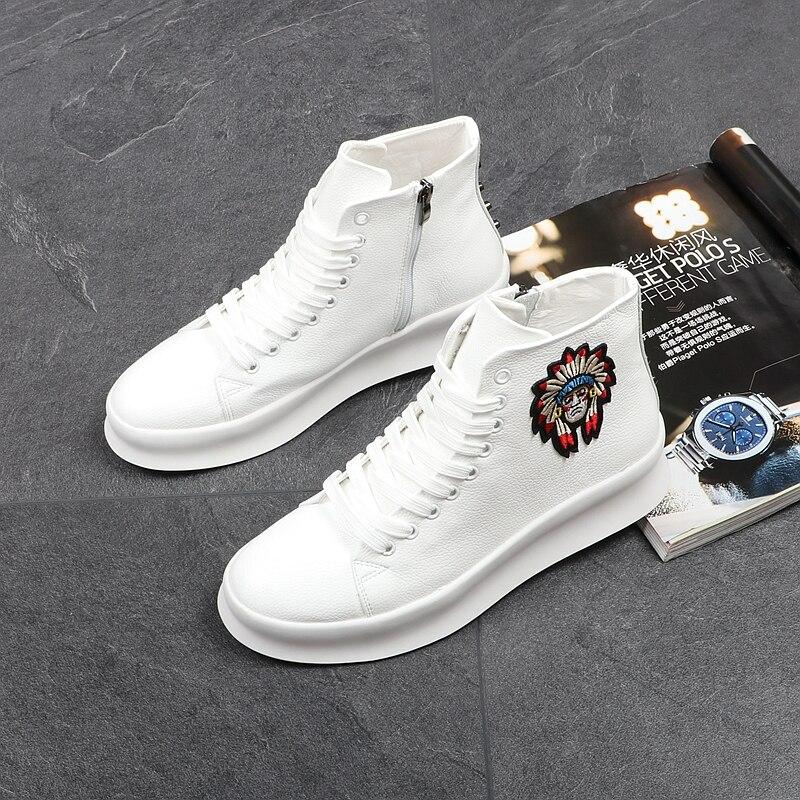 Stephoes marca de lujo hombres zapatos de moda hombres altos hombres botas de tobillo de microfibra América hombres remaches botas casuales Envío Directo    1