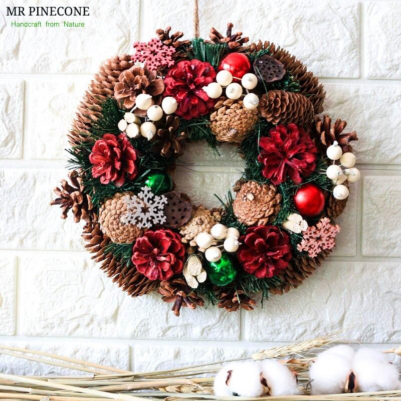 Hiver Guirlande De Vacances Natal De Noël Ornement Pendentif Goutte Rouge Pommes de Pin Neige Maison Décoration Couronnes Blanc Berry Décor Rustique