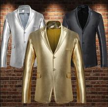 Metal color Glossy clothes men suits designs stage singers Embossing jacket men blazer dance star style dress gold silver black dance star