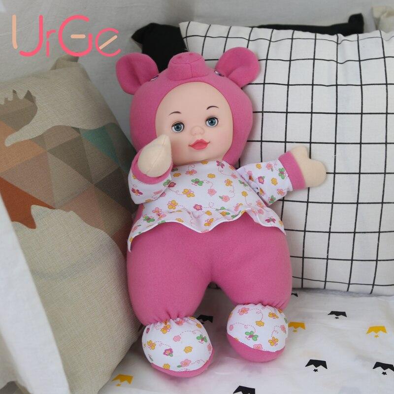 URGE 40cm rose cochon poupée kawaii en peluche en peluche animaux de bande dessinée enfants jouets pour filles silicone reborn poupées visage doux cadeau d'anniversaire