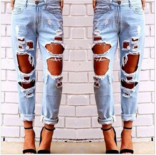 F.N.JACK Woman's Sexy Tight Broken Hole Jeans Casual Elastic Cotton Pencil Pants