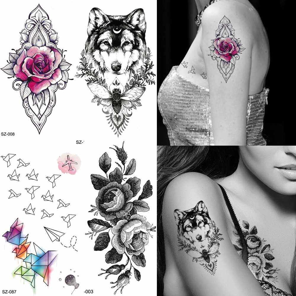 f15e4b74e Black Women Arm Fashion Tattoo Stickers Sketch Flower Rose Temporary Tattoo  Men Wolf Cute Origami Birds
