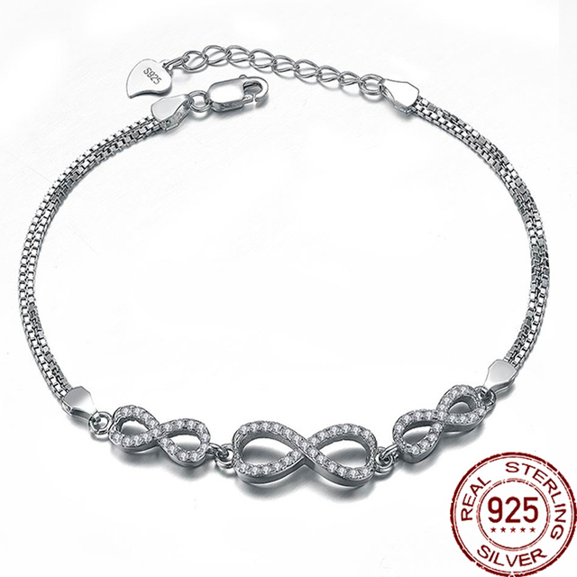 17cm Infinity Shape 925 Sterling Silver Bracelet Banlges Fine Jewelry For Women Zircon Charm Adjustable Fashion Brand Design