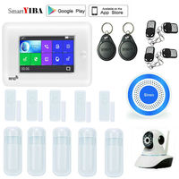 SmartYIBA 4.3 Touch Screen GPRS SMS Alarm Wireless 3G Version Smart Home Security Alarm System APP Control Sensors Alarm Kits