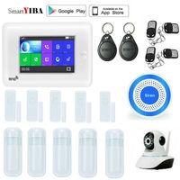 SmartYIBA 4.3 Touch Screen GPRS SMS Alarm Wireless 3G Version Smart Home Security Alarm System APP Control Sensors Alarm Kits