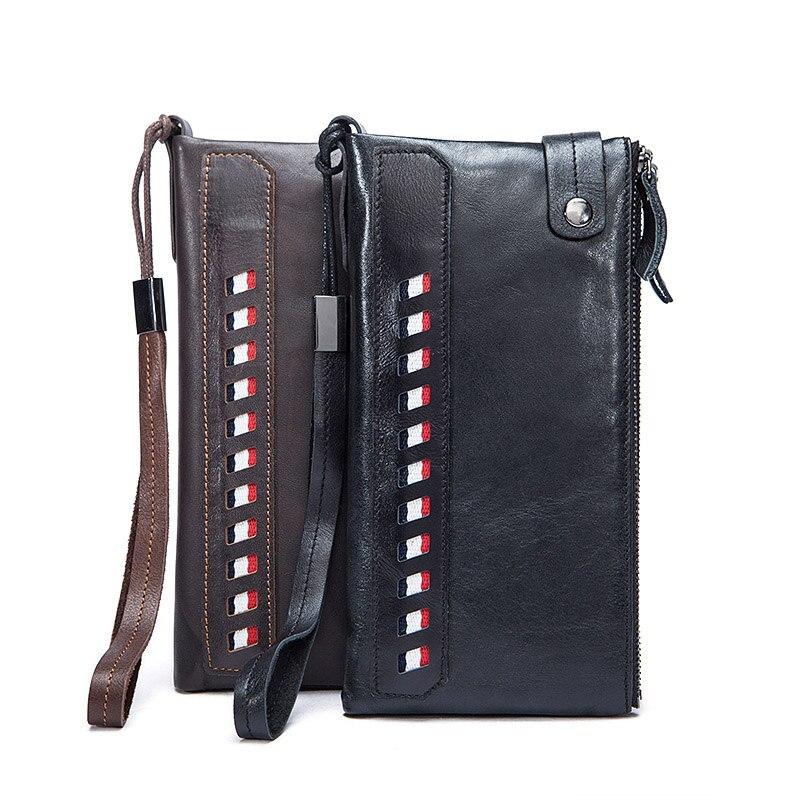 Practical Genuine Leather Fashion Men Wallets Card Holder Men Long Wallets Coin Purse top quality Male Clutch Man Wallet for men