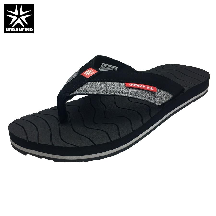 URBANFIND Patchwork Design Men Casual Flip Flops Big Size 41-46 Breathale Man Summer Slippers Fashion Loafers Green Grey