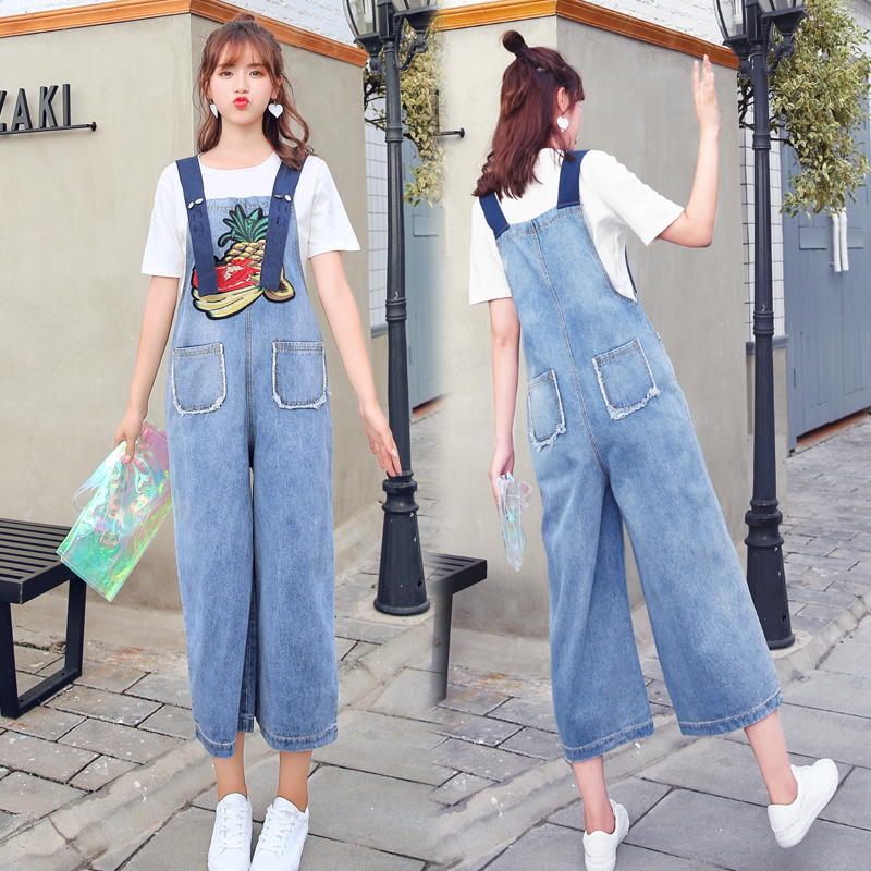 Arnés Mujer Jeans Baberos 9856 Mono Verano Ancha 2018 Bordado Pantalones Sueltos Pierna Nuevo Real Estudiante qxYwf71nx