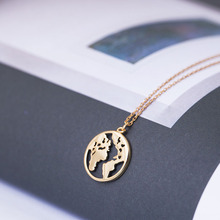 Vintage Origami necklace world map women geometric round circle necklaces & pendants jewelry choker