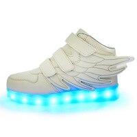 Çocuk Aydınlık Melek Kanatları Sneakers Çocuk Kız Boy için LED Işık Ayakkabı Rahat Şarj Edilebilir Renkli Spor Ayakkabı USB Şarj