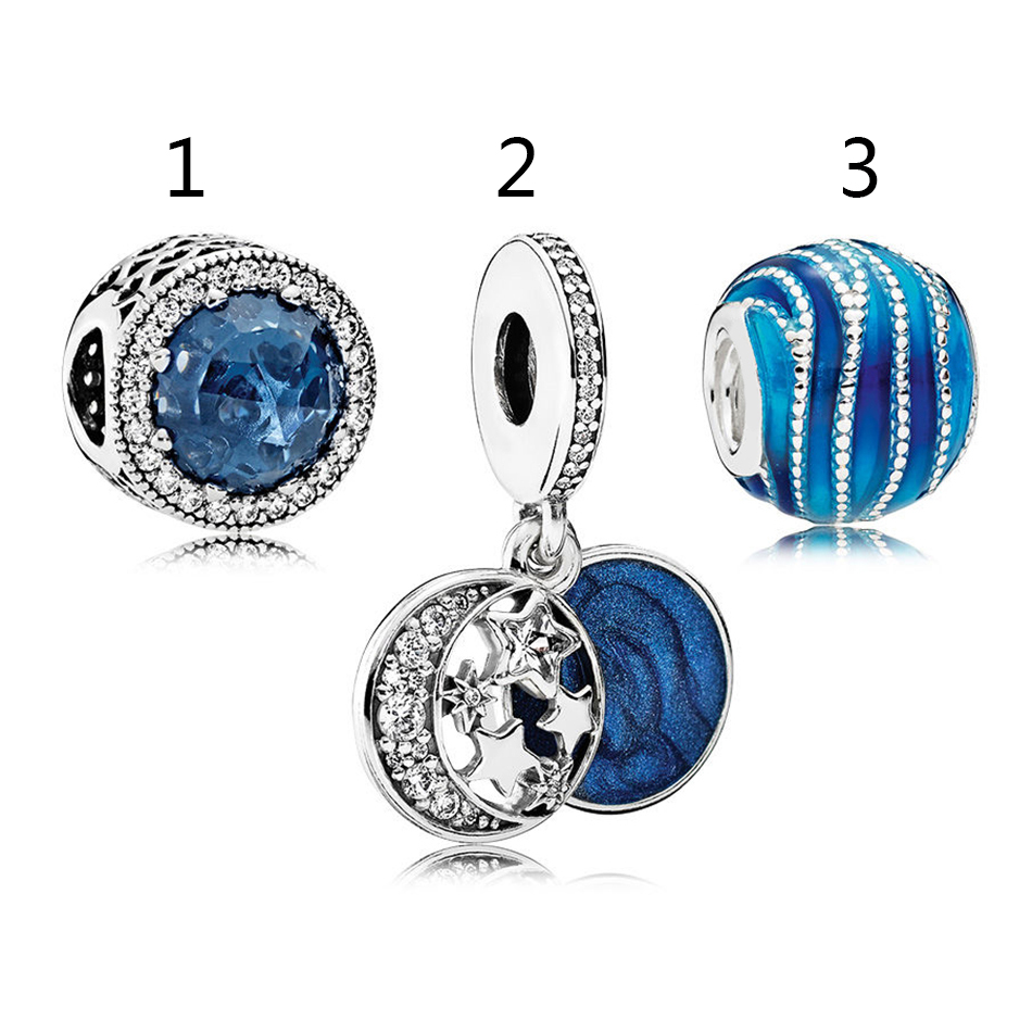 Authentic 925 Sterling Silver Enamel Brilliant Blue Charm Pack With Crystal Pendant Bead Fit Pandora Bracelet Bangle DIY Jewelry