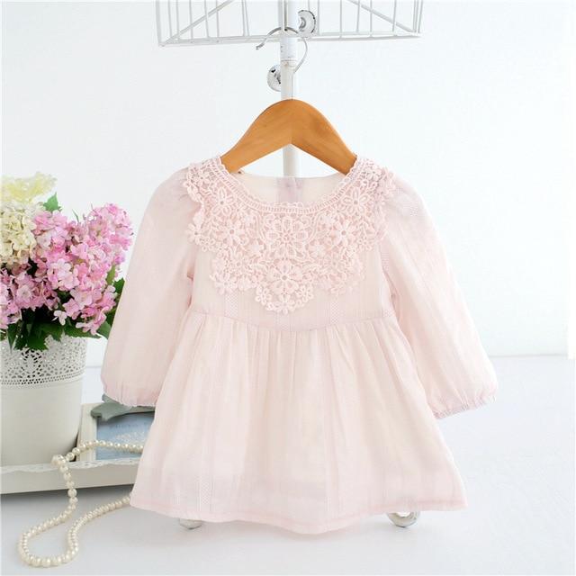 שמלות 2018 אביב יילוד תינוק בגדי בנות רקמת פרחים מסיבת יום הולדת נסיכת שמלת תחרה חמודה עבור 0-2 T 2 צבע