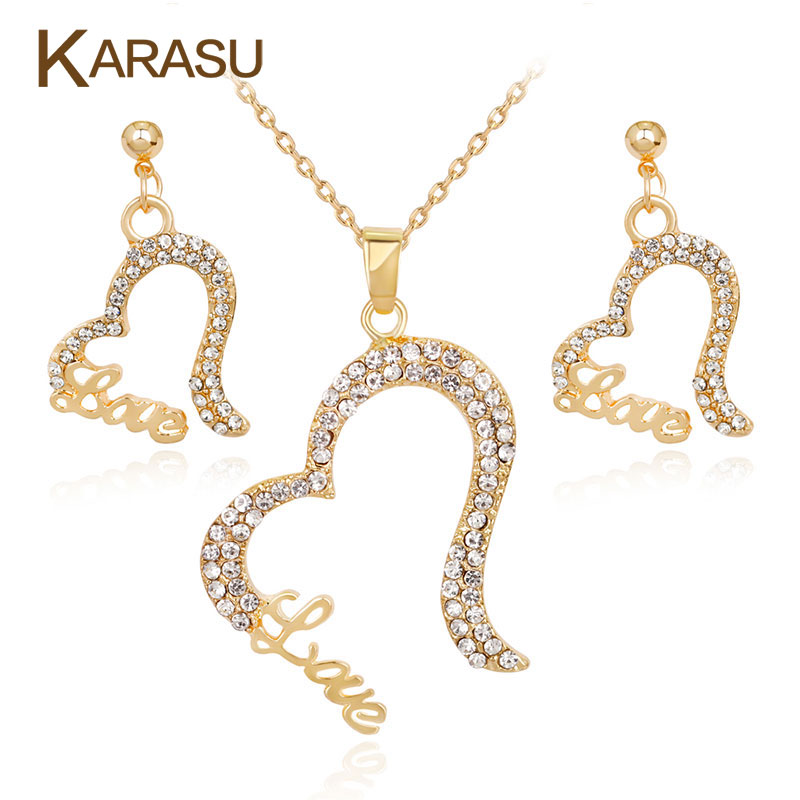 KARASU Love Heart Gold Color Pendant Necklace Earrings Lovely full Rhinestones Jewelry Sets Decorations for Women Jewelry