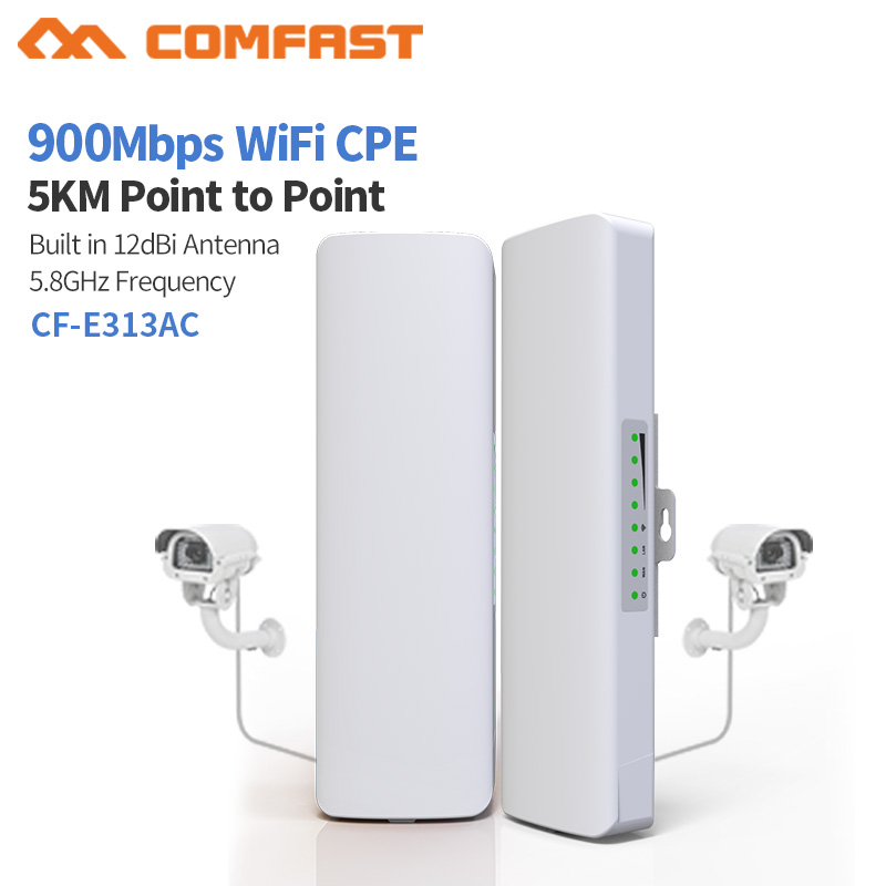 2pcs COMFAST CF-E313AC 5KM 900Mbps 5.8Ghz Outdoor Mini Wireless AP Bridge WIFI CPE Access Point 12dBi WI-FI Antenna Nanostation
