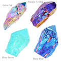 "JOVIVI 1 pc Natural Titanium Coated Aura Raw Crystal Quartz Single Point Cluster Geode Druzy Gemstone Specimen 1.97"" to 3.15"""