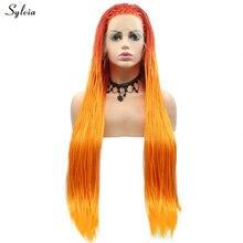 Sylvia коробка ручной работы оплетенные парики афро-американский стиль длинные волосы Синтетические Кружева передние парики для женщин Омбре ярко-оранжевый парик с косами