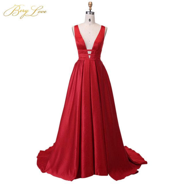 Berylove Sexy Red Evening Dress 2019 Elegant Satin Evening Gown Long Formal Abiye Prom Party Dress vestido longo festa 04010248 1
