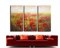 Free Shipping Handpainted Red Poppy Field Oil Painting On Canvas 3 Panel Wall Art Picture For