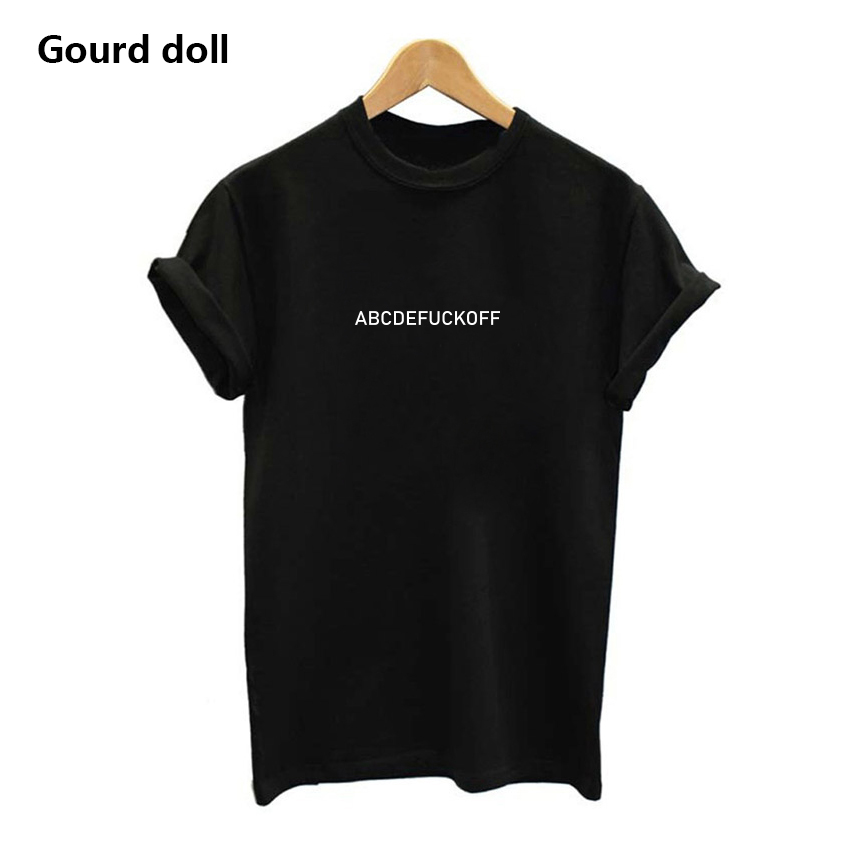 ABCDEFUCKOFF Fashion Summer T Shirt Women Plus Size Letter Printed Short Sleeve Black/white Tee Shirt Femme Harajuku Tumblr