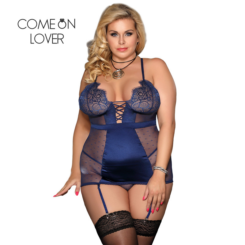 Comeonlover Women <font><b>Lingerie</b></font> Nightwear Lace Top V Neck <font><b>Sexy</b></font> Babydoll Costume <font><b>Plus</b></font> <font><b>Size</b></font> 5XL Transparent Nuisette <font><b>Sexy</b></font> Femme RE80650 image