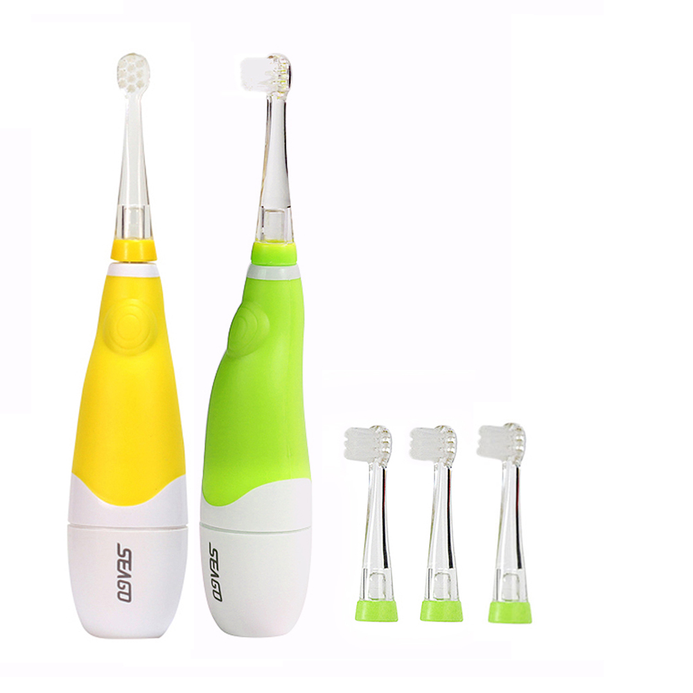 Seago Children Sonic Electric Toothbrush Intelligent Vibration With LED Light Smart Reminder Teeth Cleaning Tooth Brush Kids 2pcs philips sonicare replacement e series electric toothbrush head with cap