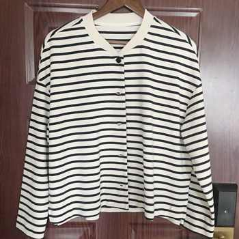 Women Jacket 2019 Spring black white Striped Coat with little star sequined