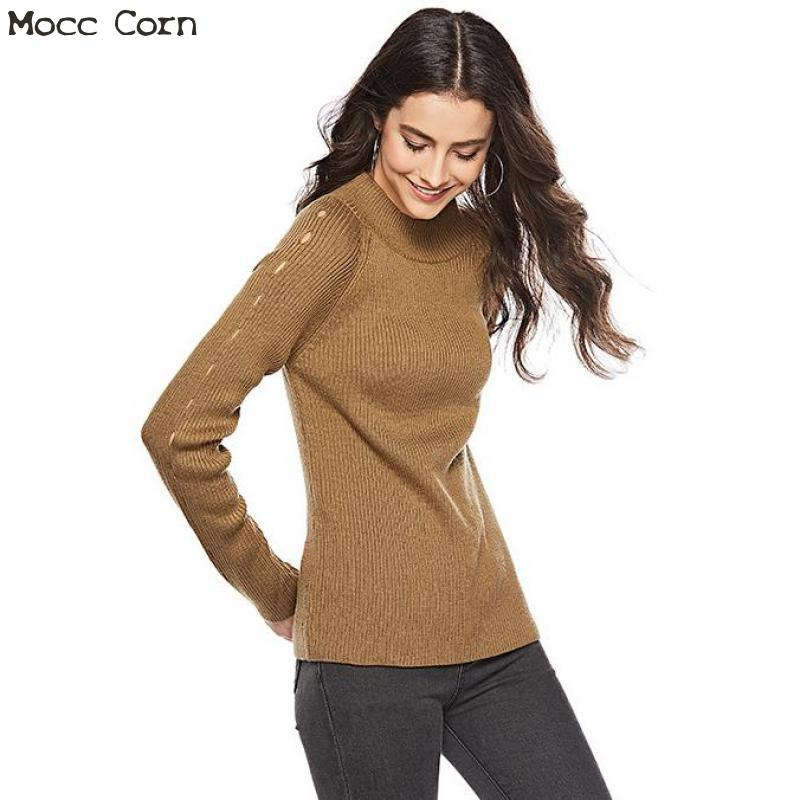 Mocc Corn Women <font><b>Hollow</b></font> <font><b>Out</b></font> Sweater Backless <font><b>Pullover</b></font> Female <font><b>Ribbed</b></font> Slim Crew Neck Sweater Long Sleeve Winter Warm <font><b>Knitwear</b></font> Tops