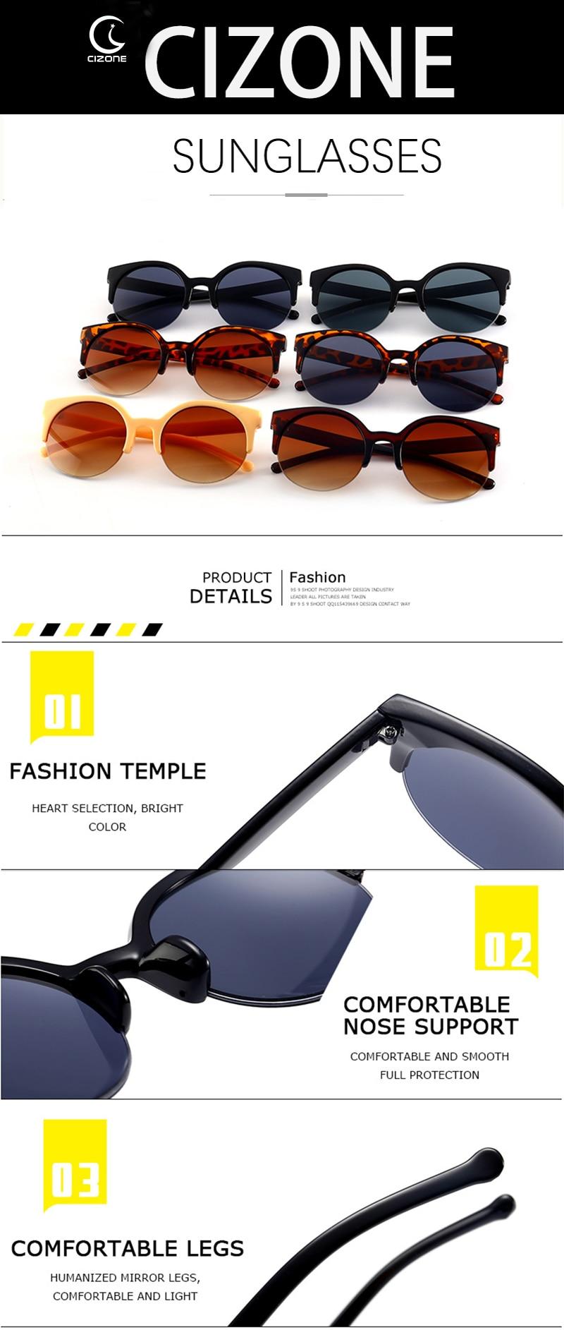 1 women semi-rimless roud lens sunglasses