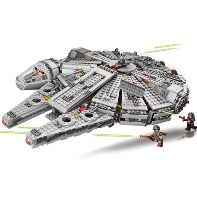 LELE 79211 Star Wars Millennium Falcon Outer Space Space Ship Building Blocks Model Toys For Children action figure Lepin 05007 игровой набор mattel star wars tie fighter vs millennium falcon 2 предмета cgw90