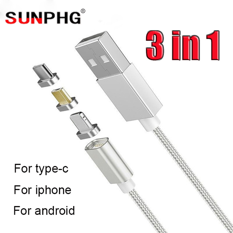 3 in 1 Magnetic Date Cable USB Fast Charging Data Transmission Cable Nylon Braided Charger Line Type C for Android for iPhone