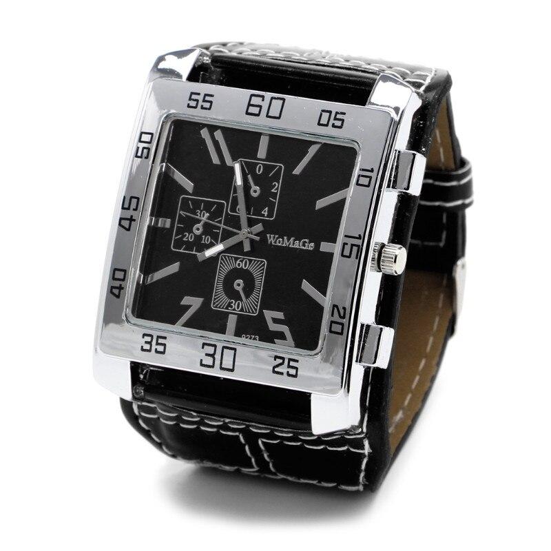 Кварцевые часы модные шикарные с кожаным ремешком Мужские Женские наручные часы квадратный циферблат - Цвет: BK