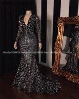 2019 черные, большие размеры, длинные рукава, Русалка, африканские платья для выпускного вечера с коротким шлейфом, v образный вырез, элегантны
