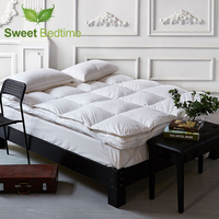 hotel deluxe lumbar baffle box mattress protecter Down on Top Feather bed mattress topper 750++ goose down feather mattress pad