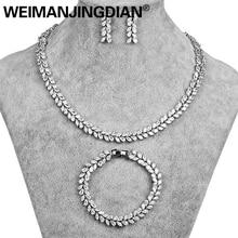 סט של 3 מעוקב Zirconia עלה עיצוב טניס שרשרת עגילי צמיד כלה חתונה תכשיטים בשנת לבן זהב צבע מצופה