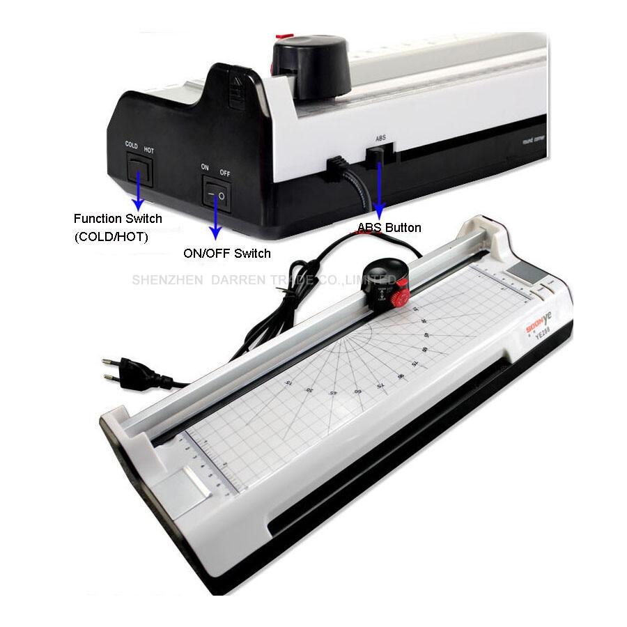 1 PCS 220V-240V 50Hz Sealed Plastic Laminating Machine New YE381 Smart Photo Laminator Hot Cold A3 330mm
