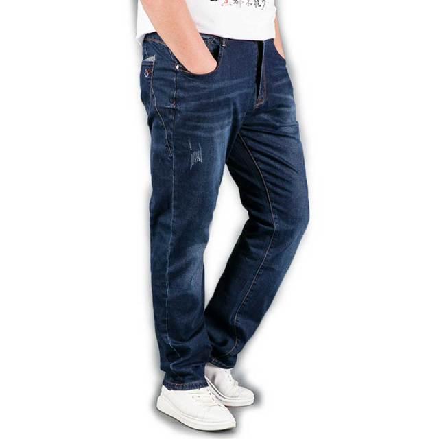 32dffc66b4 Nueva Llegada Del Otoño Invierno Hombre Jeans Azul Oscuro Negro Recto  Pantalón de Mezclilla Pantalones Elásticos