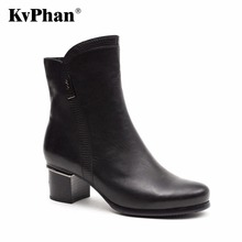 KvPhan 2017 Fashion Genuine Leather Boots Cowhide ankle boots women Metal Decoration High heels boots Zipper shoes Bling woman